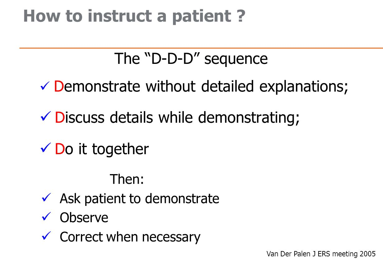 How to instruct a patient