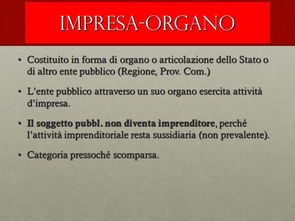 IMPRESA-ORGANO Costituito in forma di organo o articolazione dello Stato o di altro ente pubblico (Regione, Prov. Com.)