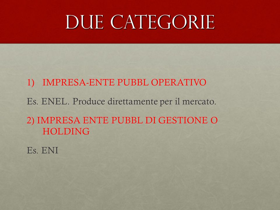 Due categorie IMPRESA-ENTE PUBBL OPERATIVO