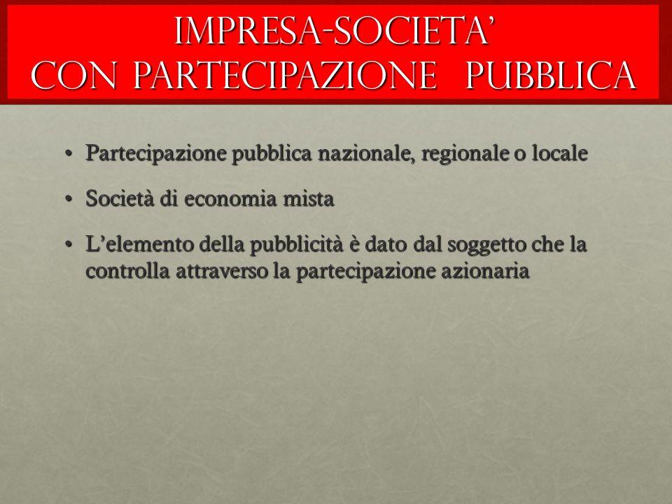 IMPRESA-SOCIETA' CON PARTECIPAZIONE PUBBLICA