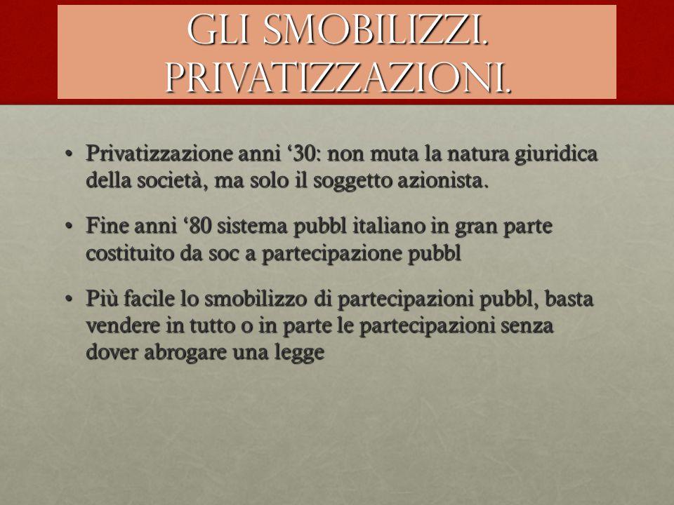 Gli smobilizzi. Privatizzazioni.