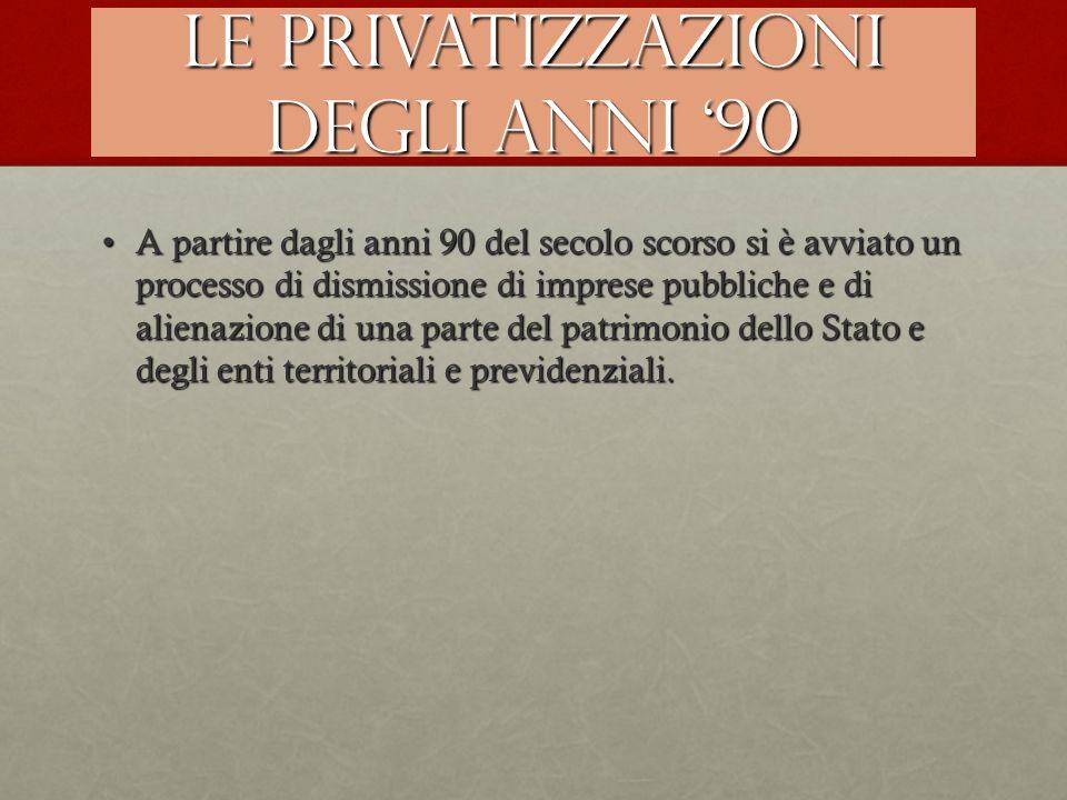 Le privatizzazioni degli anni '90