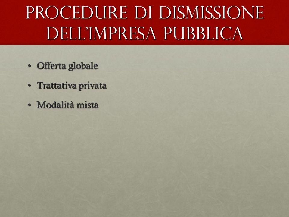 Procedure di dismissione dell'impresa pubblica
