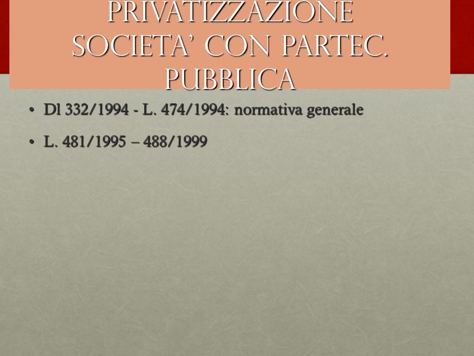 PRIVATIZZAZIONE SOCIETA' CON PARTEC. PUBBLICA