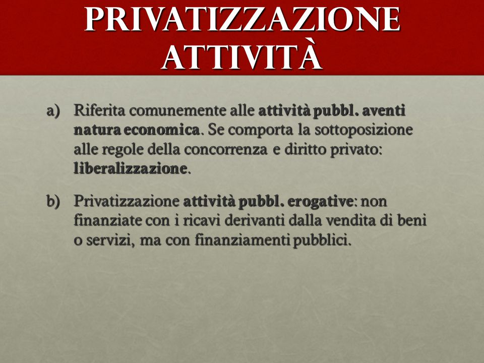 Privatizzazione attività