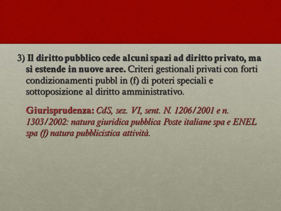 3) Il diritto pubblico cede alcuni spazi ad diritto privato, ma si estende in nuove aree.