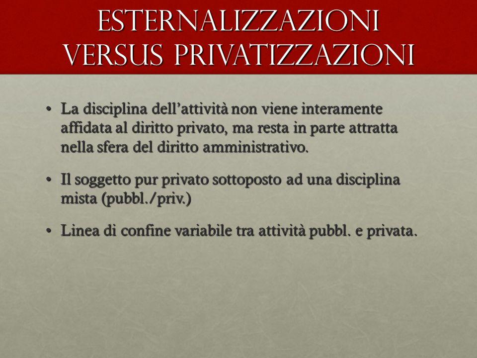 Esternalizzazioni versus privatizzazioni