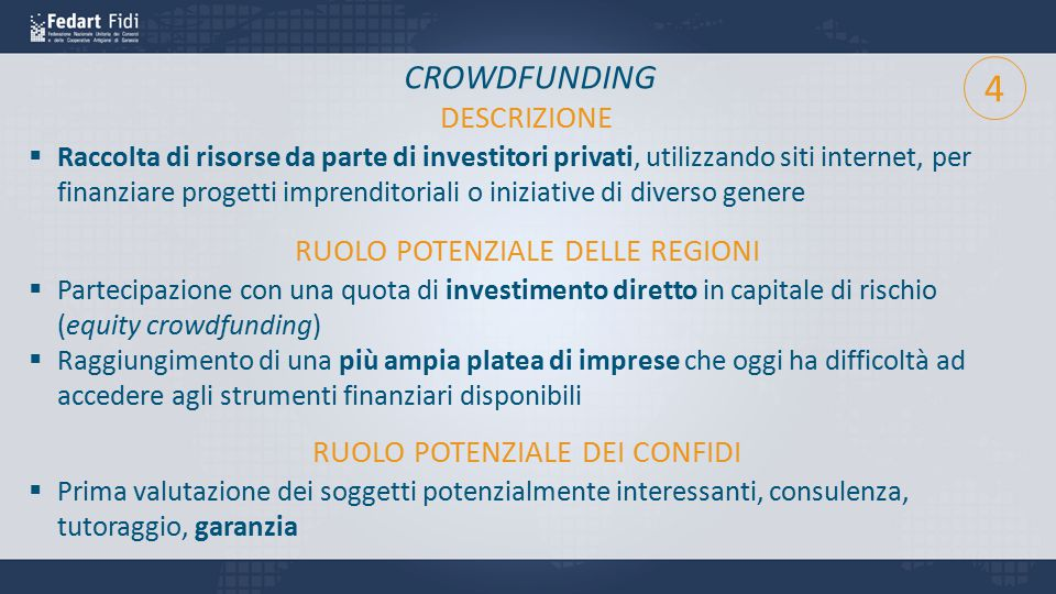 4 CROWDFUNDING DESCRIZIONE RUOLO POTENZIALE DELLE REGIONI