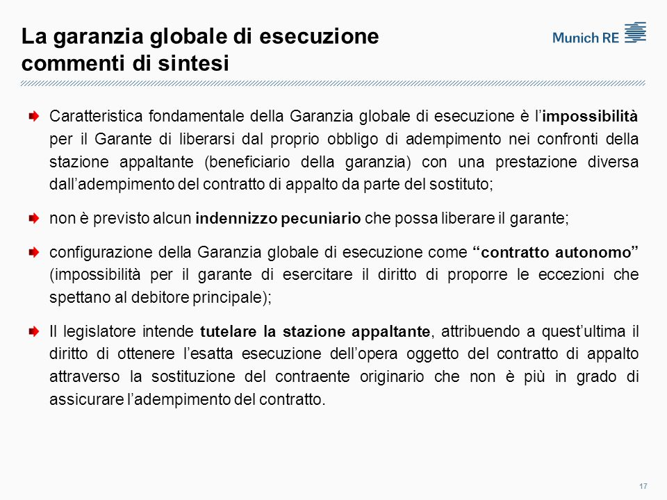 La garanzia globale di esecuzione commenti di sintesi