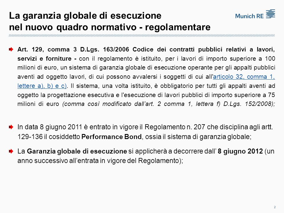 La garanzia globale di esecuzione nel nuovo quadro normativo - regolamentare