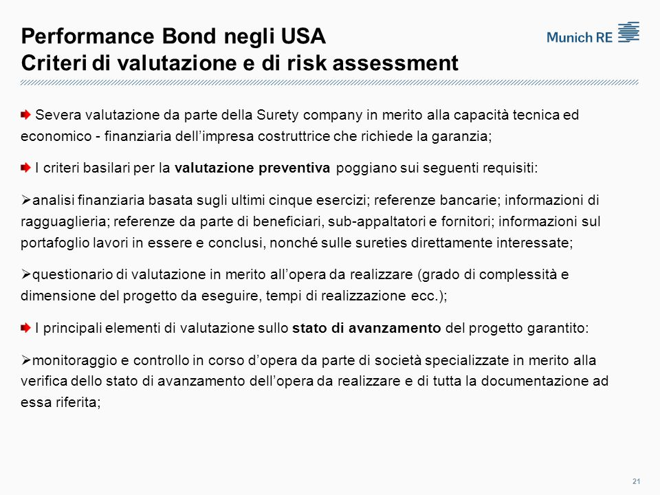 Performance Bond negli USA Criteri di valutazione e di risk assessment