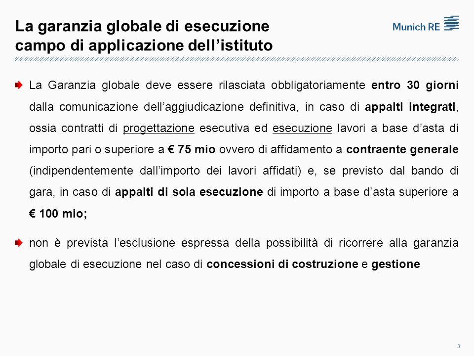 La garanzia globale di esecuzione campo di applicazione dell'istituto