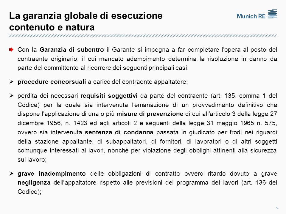 La garanzia globale di esecuzione contenuto e natura