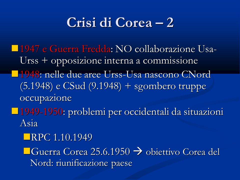 Crisi di Corea – 2 1947 e Guerra Fredda: NO collaborazione Usa- Urss + opposizione interna a commissione.
