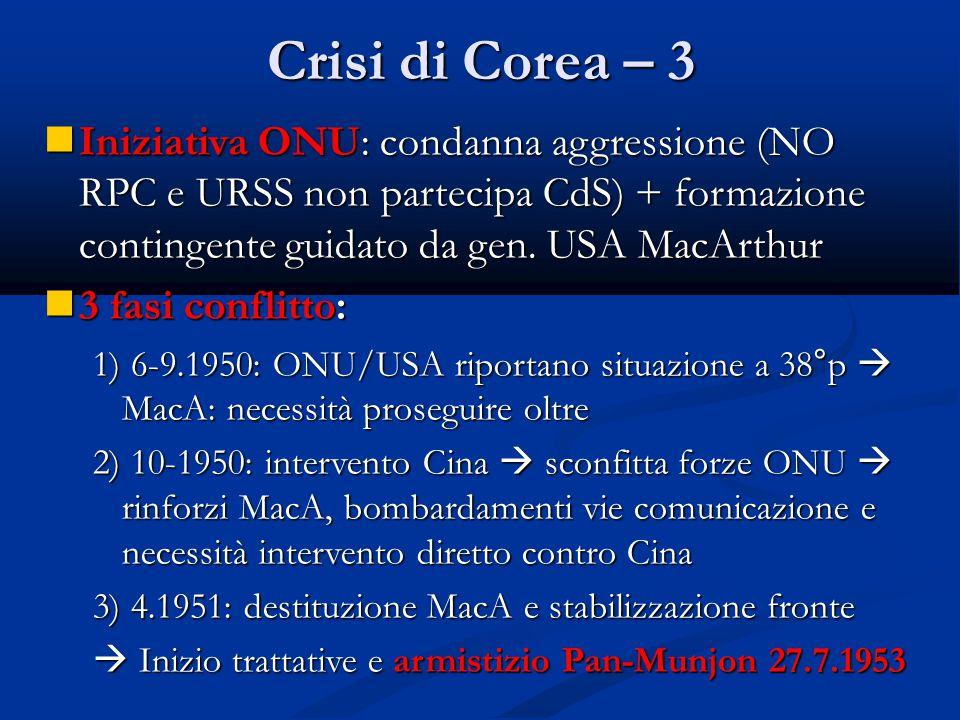 Crisi di Corea – 3 Iniziativa ONU: condanna aggressione (NO RPC e URSS non partecipa CdS) + formazione contingente guidato da gen. USA MacArthur.