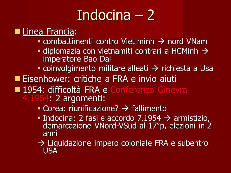 Indocina – 2 Linea Francia: Eisenhower: critiche a FRA e invio aiuti