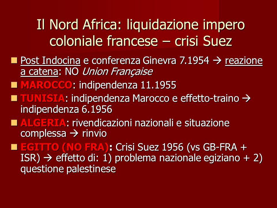 Il Nord Africa: liquidazione impero coloniale francese – crisi Suez