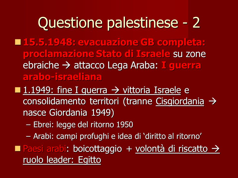 Questione palestinese - 2