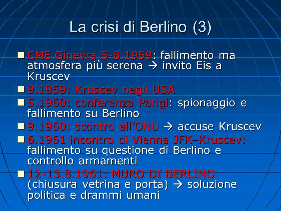 La crisi di Berlino (3) CME Ginevra 5-8.1959: fallimento ma atmosfera più serena  invito Eis a Kruscev.