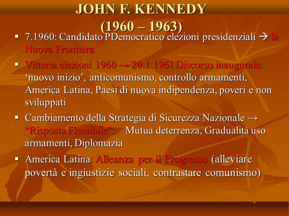 JOHN F. KENNEDY (1960 – 1963) 7.1960: Candidato PDemocratico elezioni presidenziali  la Nuova Frontiera.