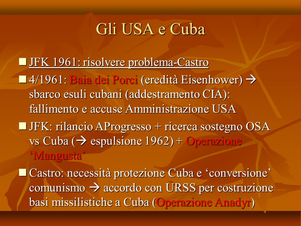 Gli USA e Cuba JFK 1961: risolvere problema-Castro