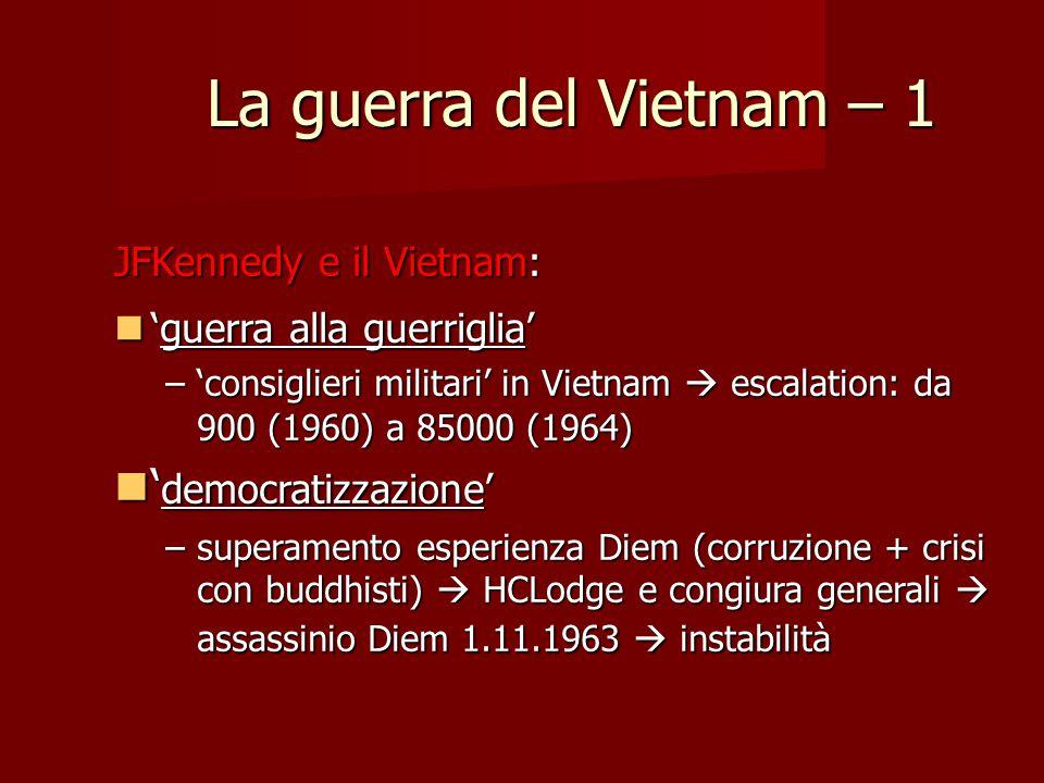 La guerra del Vietnam – 1 'democratizzazione' JFKennedy e il Vietnam:
