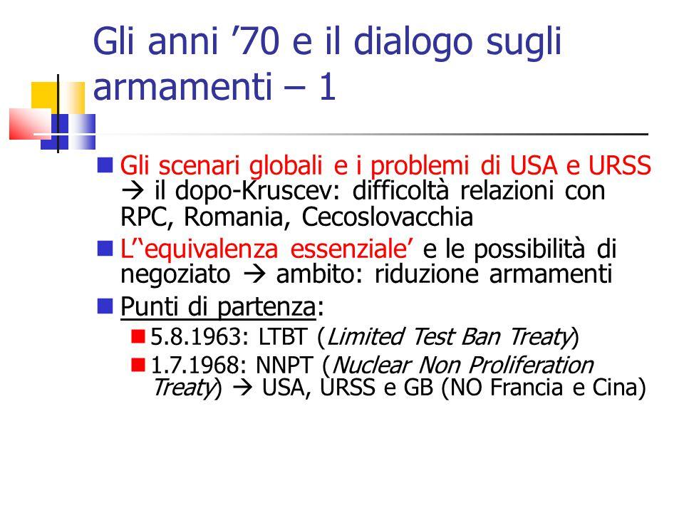Gli anni '70 e il dialogo sugli armamenti – 1