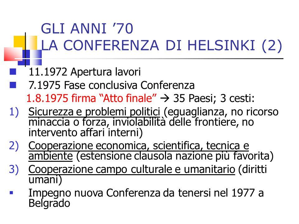 GLI ANNI '70 LA CONFERENZA DI HELSINKI (2)