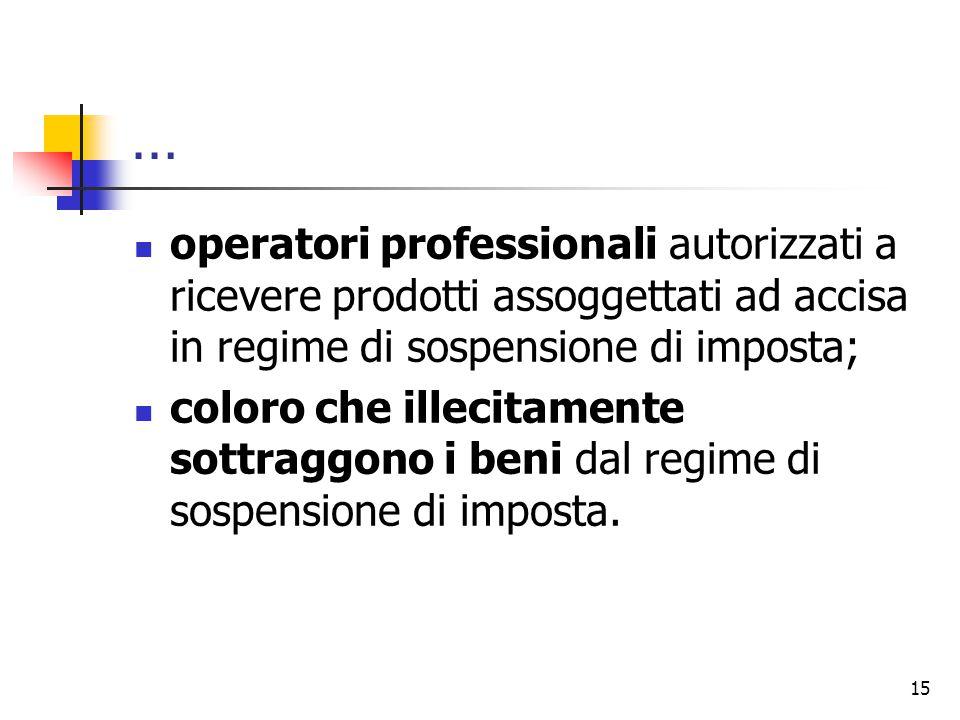 … operatori professionali autorizzati a ricevere prodotti assoggettati ad accisa in regime di sospensione di imposta;