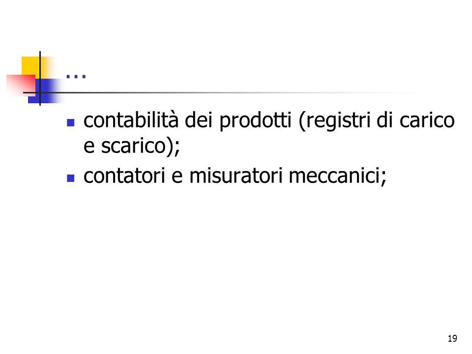 … contabilità dei prodotti (registri di carico e scarico);