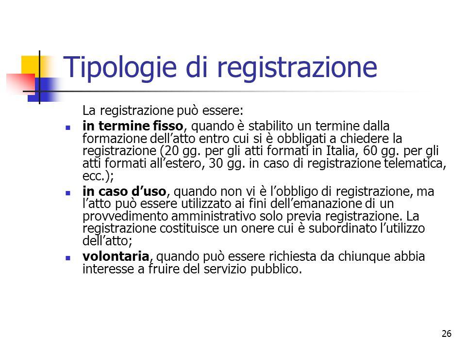 Tipologie di registrazione
