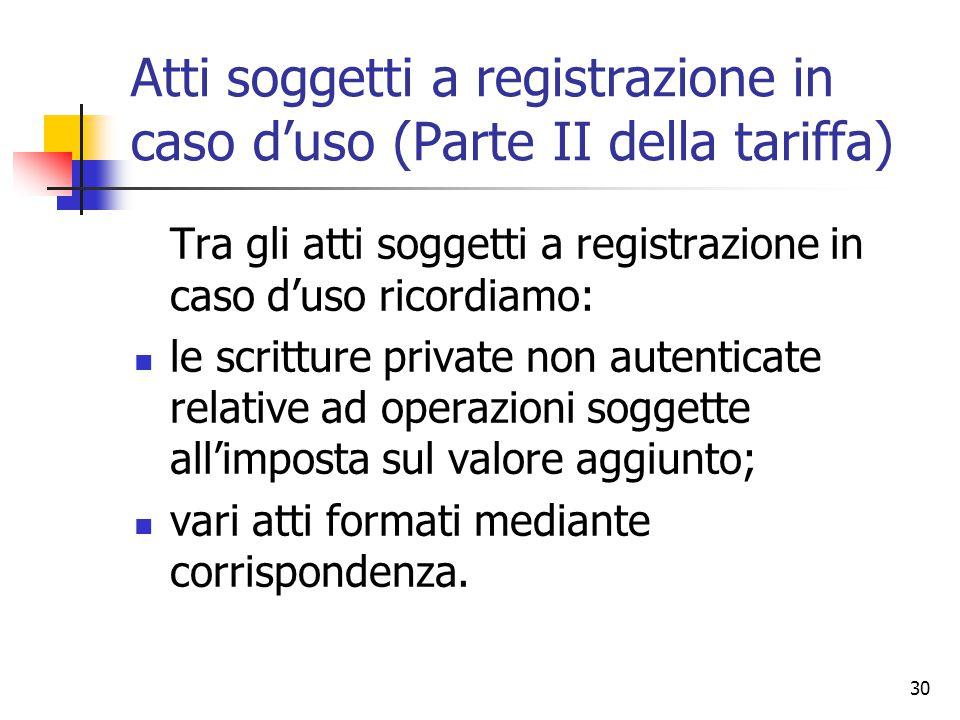 Atti soggetti a registrazione in caso d'uso (Parte II della tariffa)