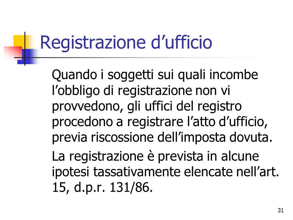 Registrazione d'ufficio