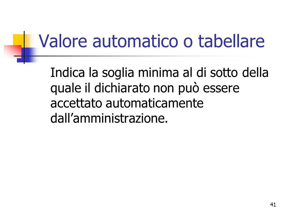 Valore automatico o tabellare