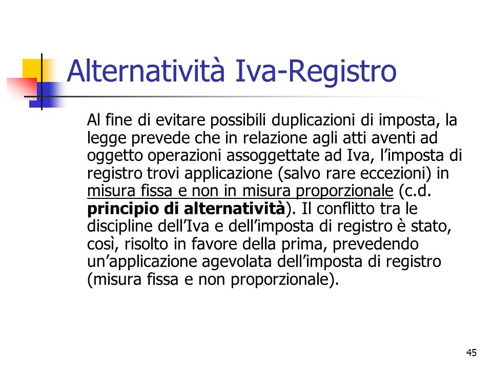 Alternatività Iva-Registro