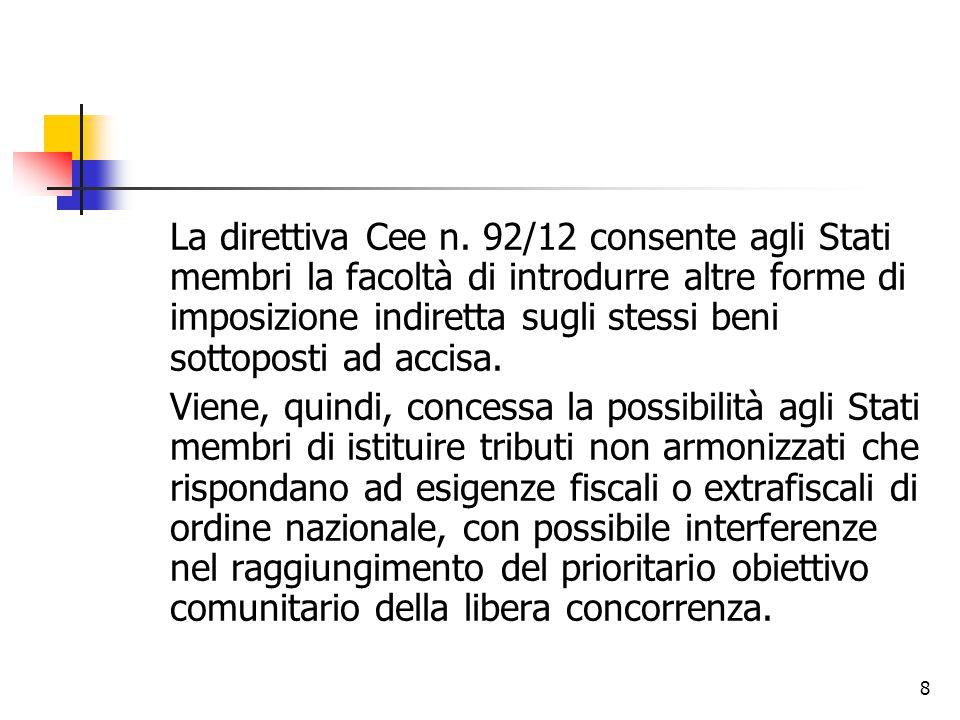 La direttiva Cee n. 92/12 consente agli Stati membri la facoltà di introdurre altre forme di imposizione indiretta sugli stessi beni sottoposti ad accisa.
