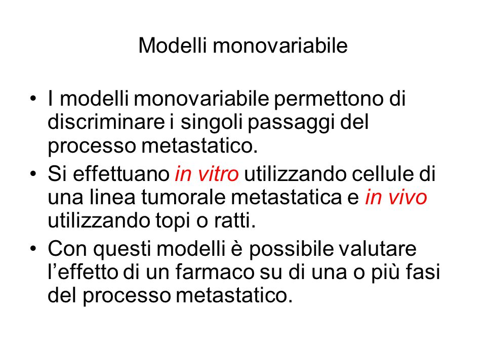 Modelli monovariabile
