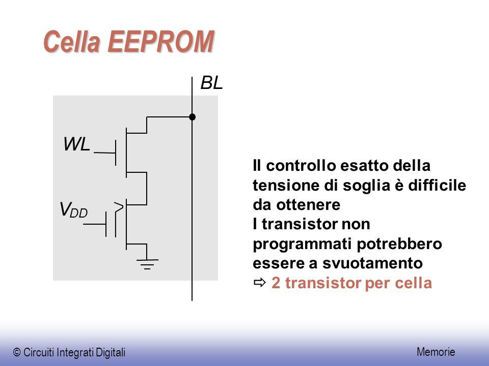 Cella EEPROM BL. WL. Il controllo esatto della tensione di soglia è difficile da ottenere.