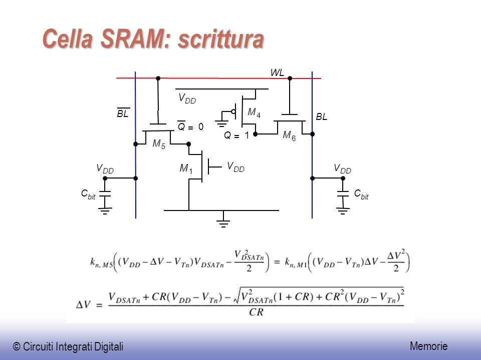 Cella SRAM: scrittura V M WL BL M BL Q = Q = 1 M M V V V C C DD 4 6 5