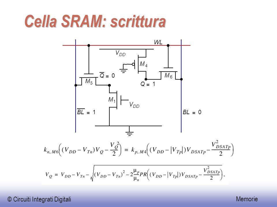 Cella SRAM: scrittura BL = 1 Q M 4 5 6 V DD WL