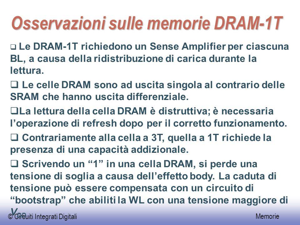 Osservazioni sulle memorie DRAM-1T