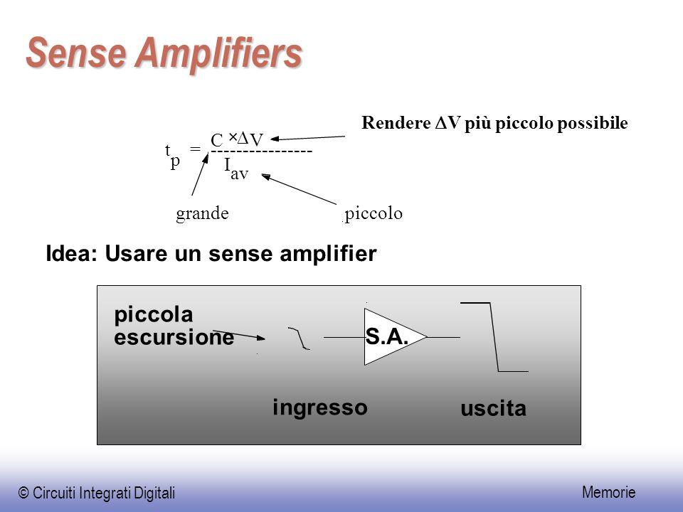 Sense Amplifiers Idea: Usare un sense amplifier piccola escursione