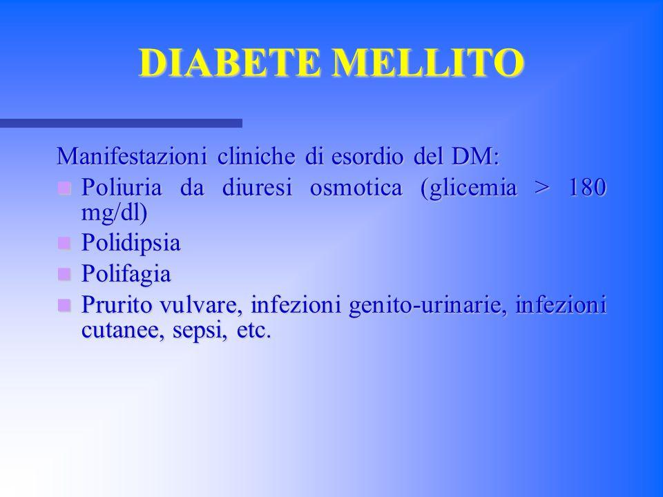 DIABETE MELLITO Manifestazioni cliniche di esordio del DM: