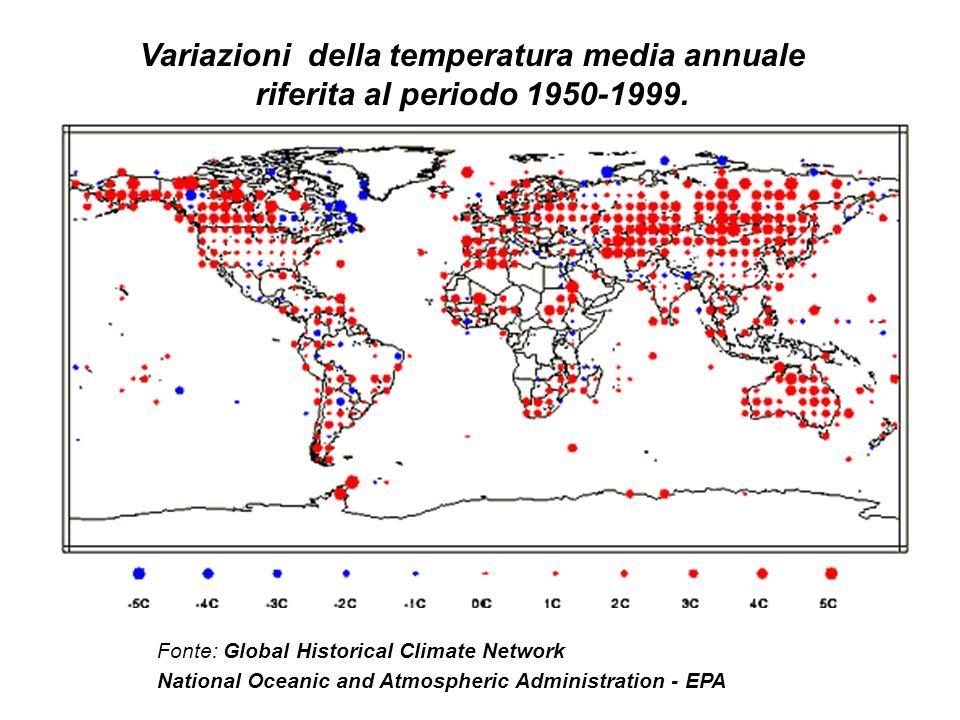 Variazioni della temperatura media annuale riferita al periodo 1950-1999.