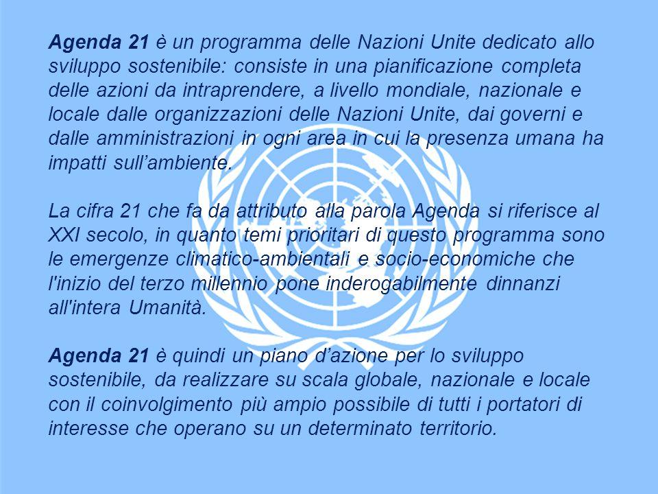 Agenda 21 è un programma delle Nazioni Unite dedicato allo sviluppo sostenibile: consiste in una pianificazione completa delle azioni da intraprendere, a livello mondiale, nazionale e locale dalle organizzazioni delle Nazioni Unite, dai governi e dalle amministrazioni in ogni area in cui la presenza umana ha impatti sull'ambiente.