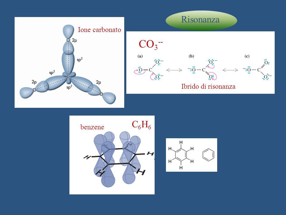 Risonanza Ione carbonato CO3-- Ibrido di risonanza C6H6 benzene