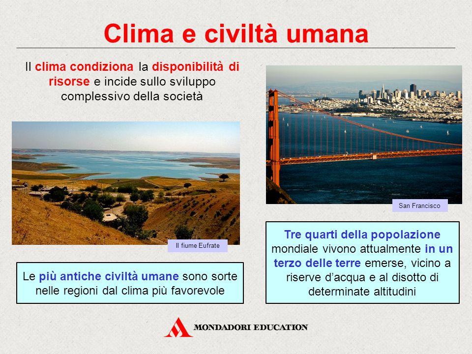 Clima e civiltà umana Il clima condiziona la disponibilità di risorse e incide sullo sviluppo complessivo della società.