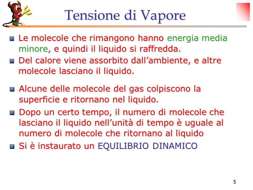 Tensione di Vapore Le molecole che rimangono hanno energia media minore, e quindi il liquido si raffredda.