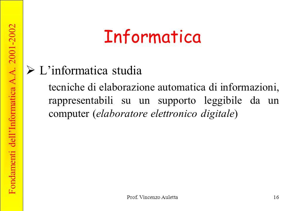 Informatica L'informatica studia