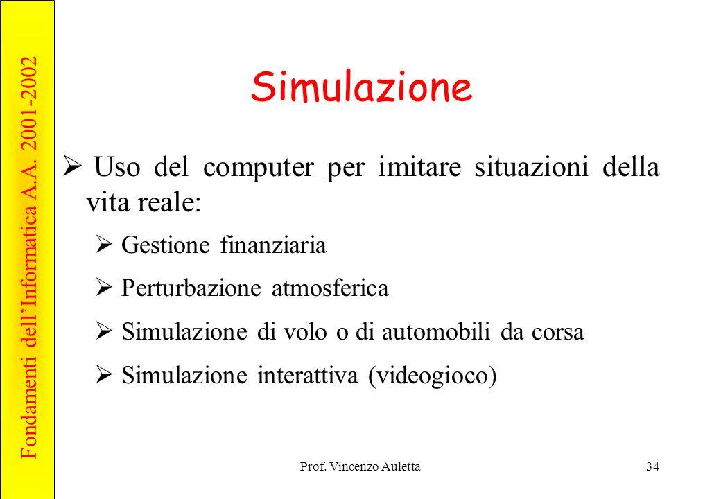 Simulazione Uso del computer per imitare situazioni della vita reale: